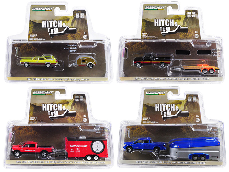 Hitch & Tow Series 17 Set 4 pieces 1/64 Diecast Model Cars Greenlight 32170