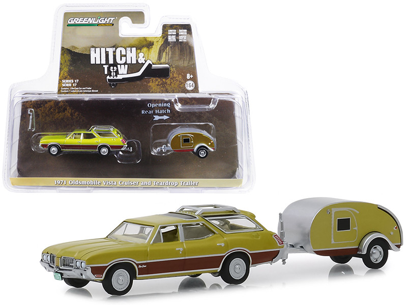 1971 Oldsmobile Vista Cruiser Teardrop Travel Trailer Green Hitch & Tow Series 17 1/64 Diecast Model Car Greenlight 32170 A