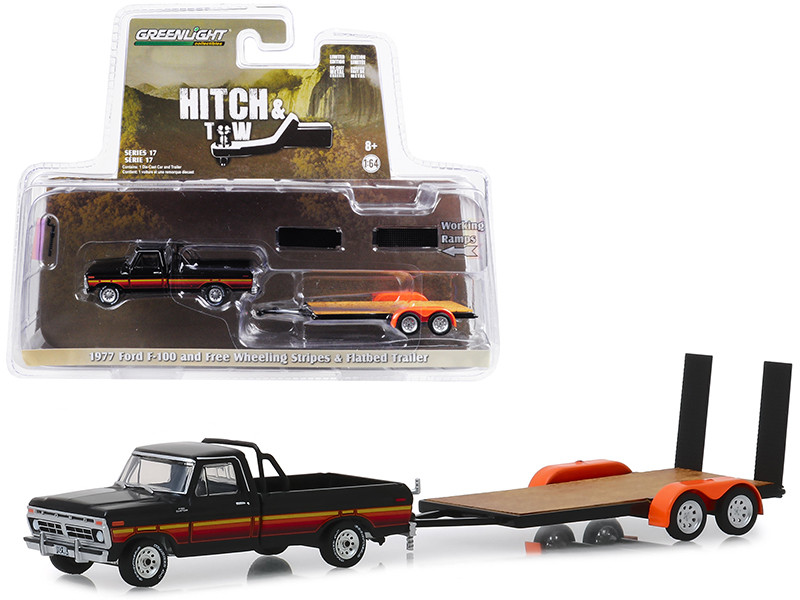 1977 Ford F-100 Pickup Truck Black Free Wheeling Stripes Flatbed Trailer Hitch & Tow Series 17 1/64 Diecast Model Car Greenlight 32170 B