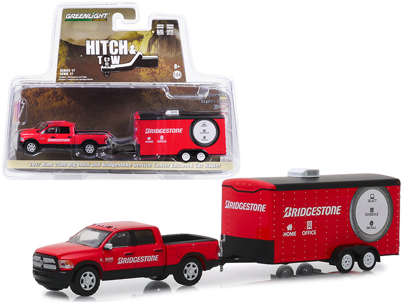 2017 Ram 2500 Big Horn Pickup Truck Enclosed Car Hauler Bridgestone Service Center Red Hitch & Tow Series 17 1/64 Diecast Model Car Greenlight 32170 C
