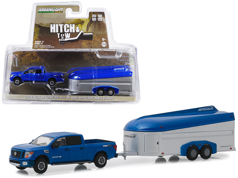 2018 Nissan Titan XD Pro-4X Pickup Truck Dark Blue Aerovault MKII Trailer Hitch & Tow Series 17 1/64 Diecast Model Car Greenlight 32170 D