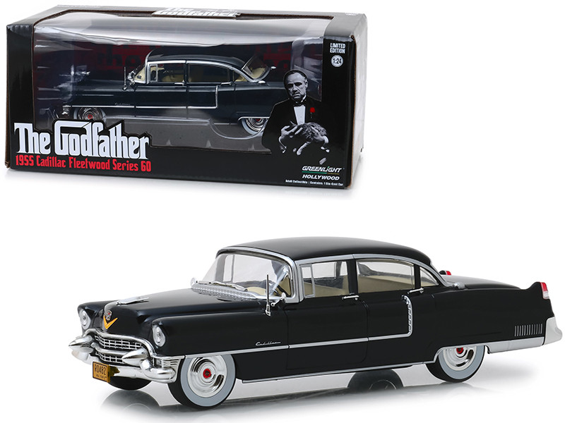 1955 Cadillac Fleetwood Series 60 Black The Godfather 1972 Movie 1/24 Diecast Model Car Greenlight 84091