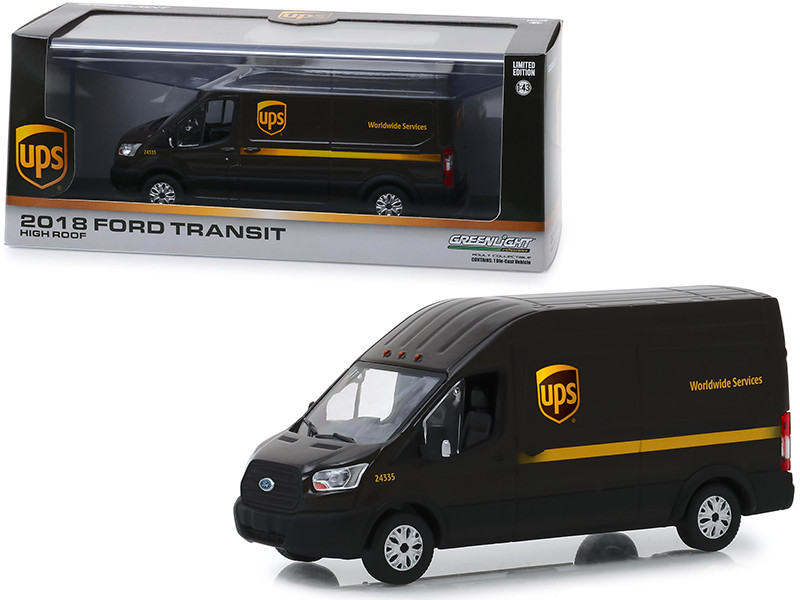 2018 Ford Transit High Roof Van United Parcel Service UPS Worldwide Services 1/43 Diecast Model Greenlight 86169