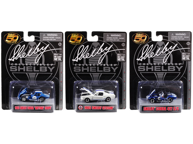 Carroll Shelby 50th Anniversary 3 piece Set 1/64 Diecast Model Cars Shelby Collectibles 16403 M