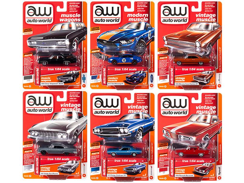 Autoworld Muscle Cars Premium 2019 Release 3 Set B 6 Cars 1/64 Diecast Models Autoworld 64202 B