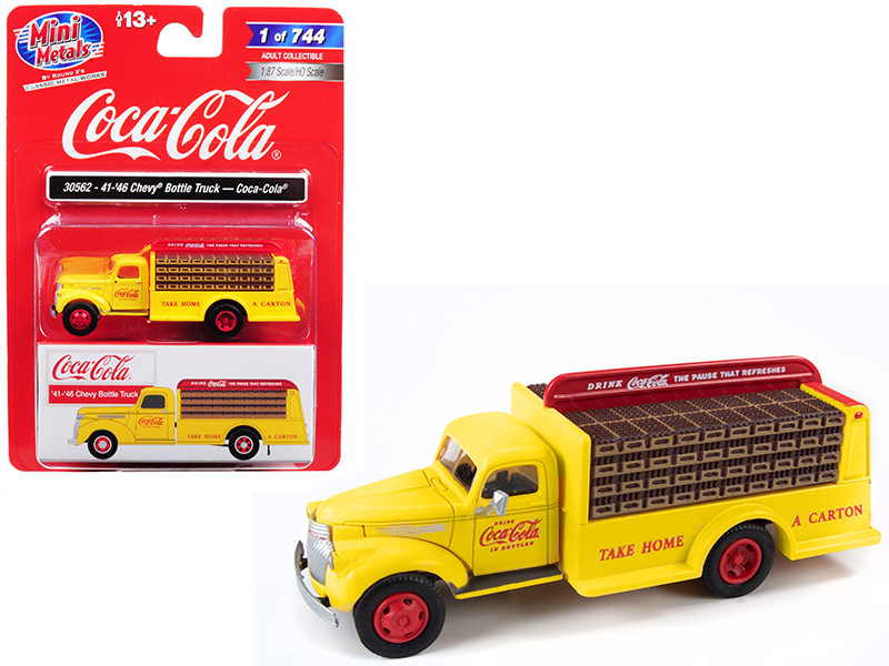 1941 1946 Chevrolet Delivery Bottle Truck Coca Cola Yellow 1/87 HO Scale Model Classic Metal Works 30562