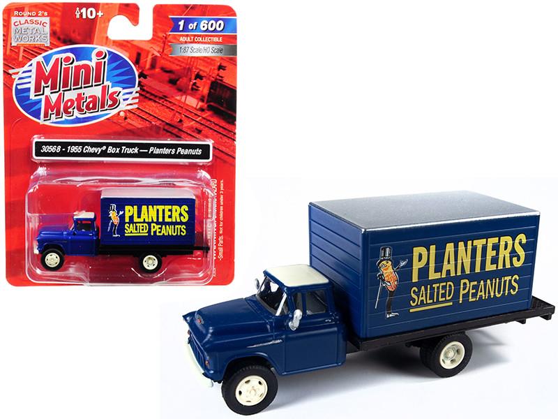 1955 Chevrolet Box Truck Planters Peanuts Dark Blue 1/87 HO Scale Model Classic Metal Works 30568