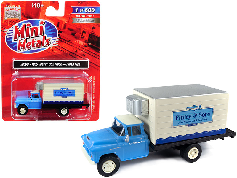 1955 Chevrolet Refrigerated Reefer Box Truck Finley & Sons Fresh Fish 1/87 HO Scale Model Classic Metal Works 30569