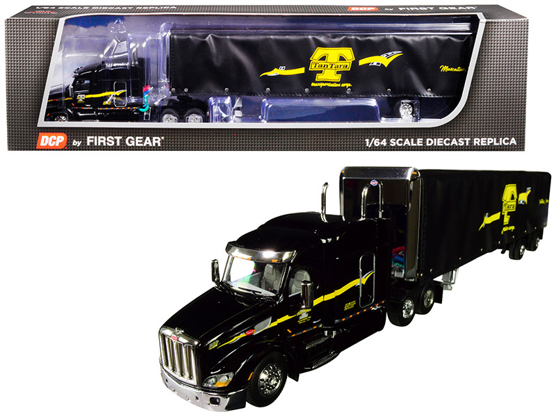 "Peterbilt Model 579 72"" Mid Roof Sleeper 53' Utility Roll Tarp Spread Axle Trailer TanTara Transportation Corp Black 1/64 Diecast Model DCP First Gear 60-0479"