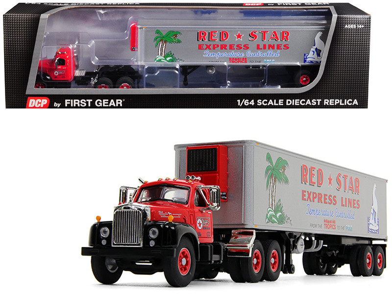 Mack B-61 Day Cab 40' Vintage Reefer Refrigerated Trailer Red Star Express Lines 28th Fallen Flag Series 1/64 Diecast Model DCP First Gear 60-0571