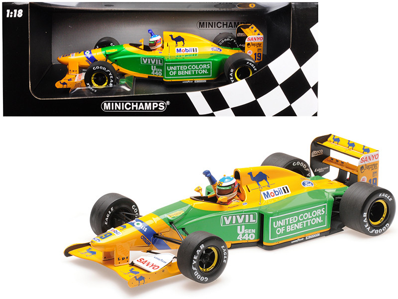 Benetton Ford B192 Camel #19 Michael Schumacher 3rd Place GP Germany 1992 Limited Edition 300 pieces Worldwide 1/18 Diecast Model Car Minichamps 110920099