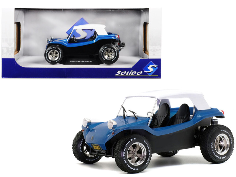 Meyers Manx Buggy Metallic Blue White Soft Top 1/18 Diecast Model Car Solido S1802701