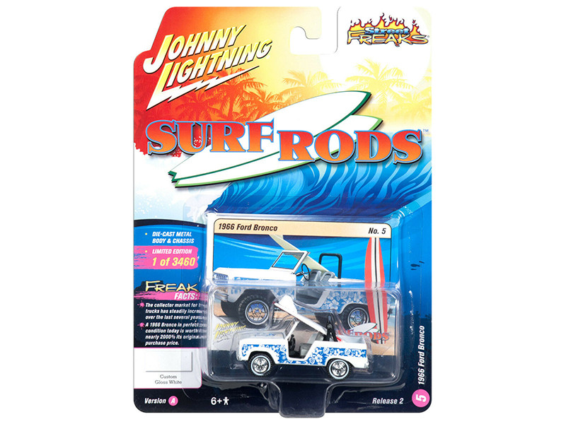 1966 Ford Bronco Surf Board White Blue Designs Street Freaks Limited Edition 3460 pieces Worldwide 1/64 Diecast Model Car Johnny Lightning JLSF008 JLCP7099