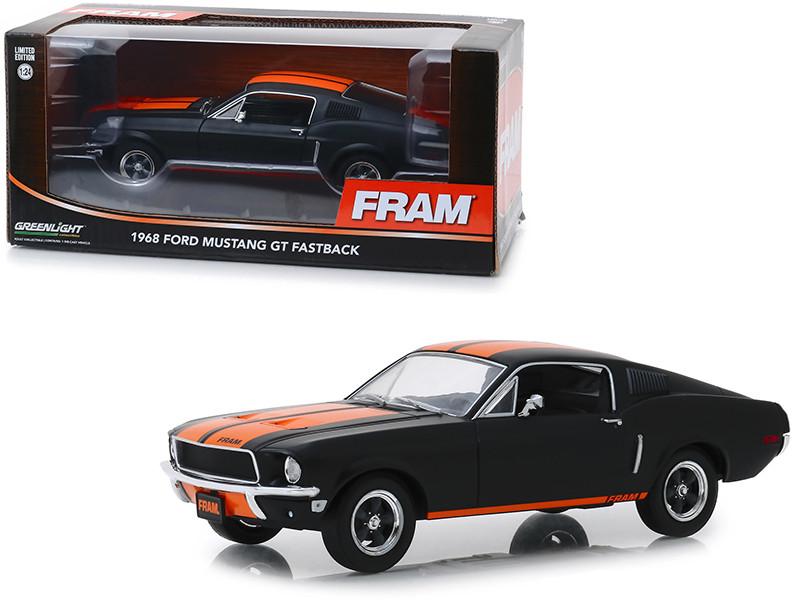 1968 Ford Mustang GT Fastback FRAM Oil Filters Black Orange Stripes 1/24 Diecast Model Car Greenlight 18253