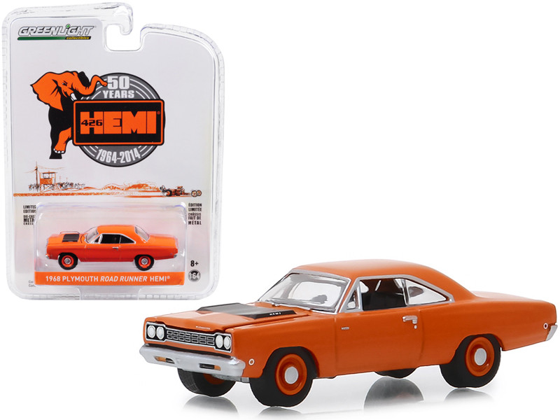 1968 Plymouth Road Runner HEMI 426 HEMI 50 Years 1964 2014 Orange Anniversary Collection Series 8 1/64 Diecast Model Car Greenlight 27980 C