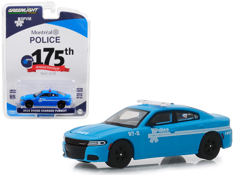 2018 Dodge Charger Pursuit Montreal Canada Police 175th Anniversary 1843 2018 Blue Anniversary Collection Series 8 1/64 Diecast Model Car Greenlight 27980 E