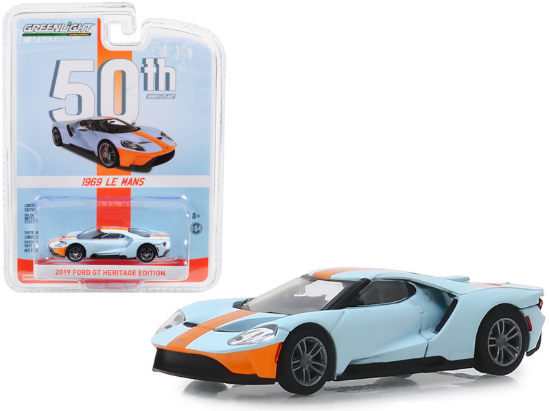 2019 Ford GT Heritage Edition 1969 Le Mans Gulf Oil Color Scheme Anniversary Collection Series 8 1/64 Diecast Model Car Greenlight 27980 F