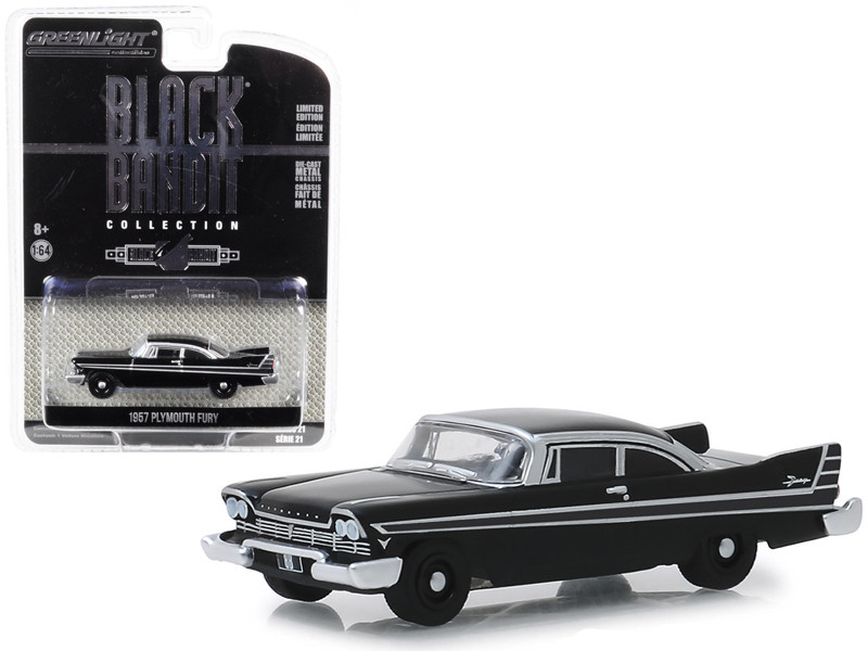 1957 Plymouth Fury Black Bandit Series 21 1/64 Diecast Model Car Greenlight 27990 A