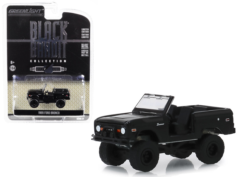 1969 Ford Bronco Doors Removed Black Bandit Series 21 1/64 Diecast Model Car Greenlight 27990 B