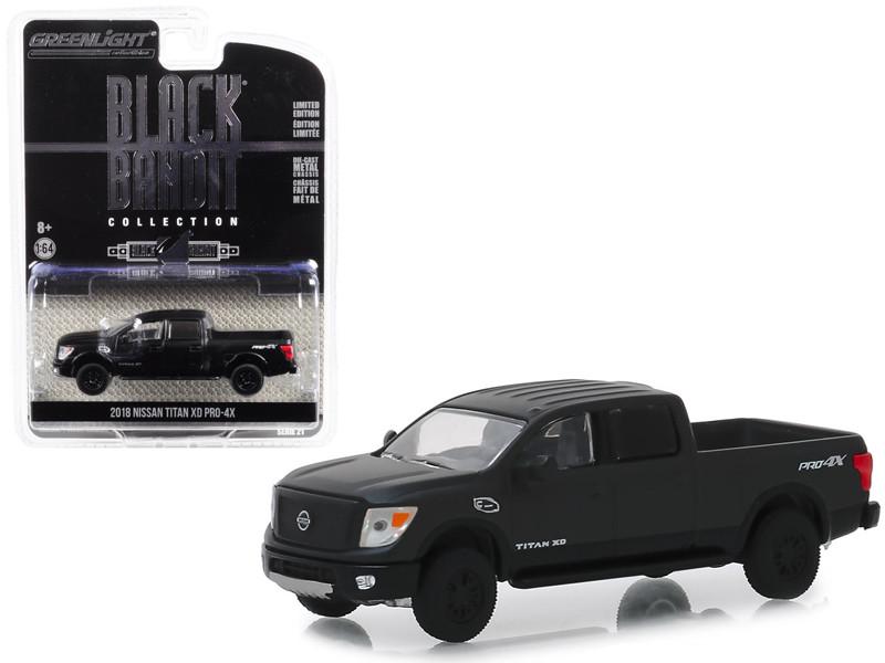 2018 Nissan Titan XD Pro-4X Pickup Truck Black Bandit Series 21 1/64 Diecast Model Car Greenlight 27990 E