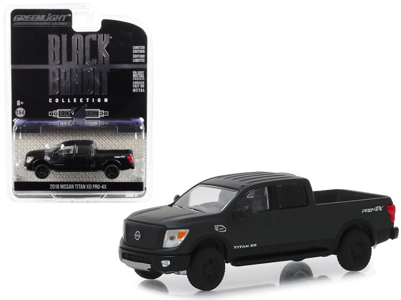 2018 Nissan Titan XD Pro-4X Pickup Truck Black Bandit Series 21 1/64 Diecast Model Car Greenlight 27990 E