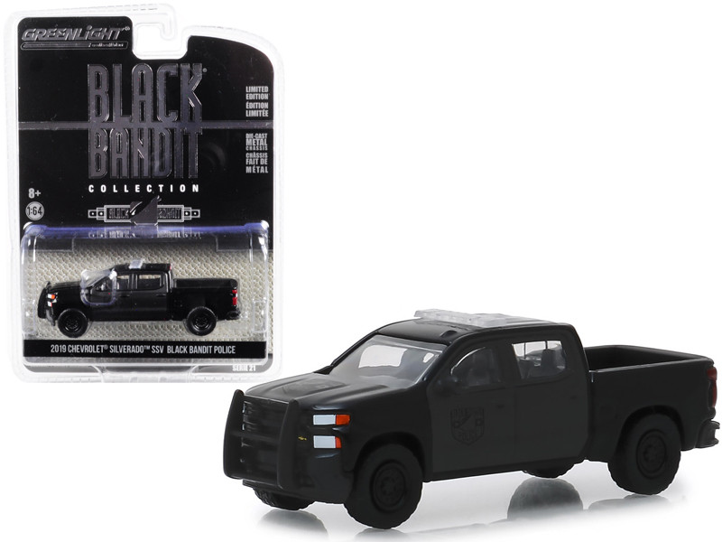2019 Chevrolet Silverado SSV Pickup Truck Black Bandit Police Black Bandit Series 21 1/64 Diecast Model Car Greenlight 27990 F