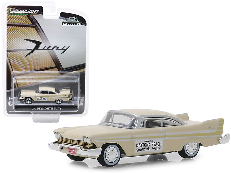 1957 Plymouth Fury Cream Daytona Beach Speed Weeks February 3-17 1957 Hobby Exclusive 1/64 Diecast Model Car Greenlight 30046