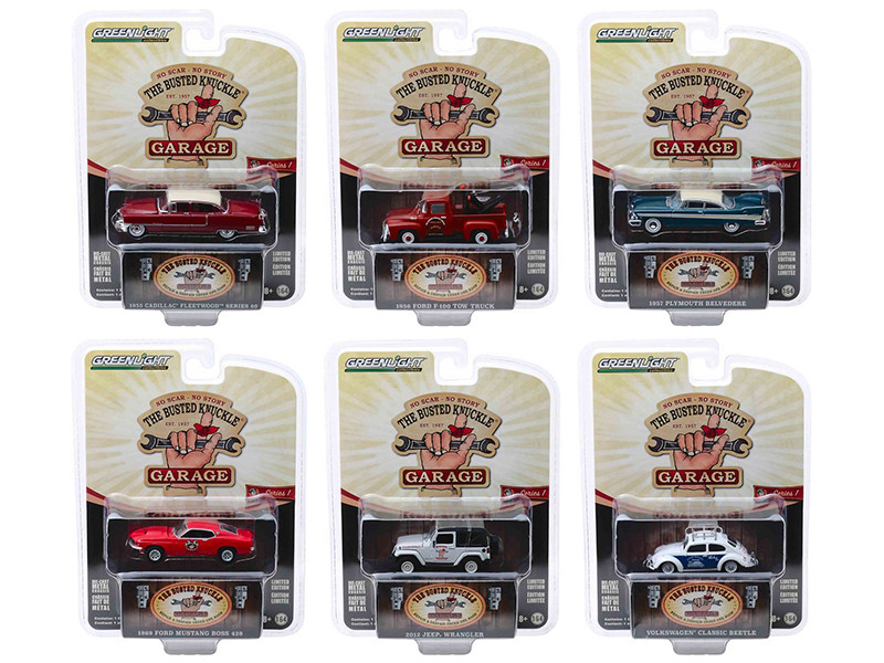 Busted Knuckle Garage Series 1 6 piece Set 1/64 Diecast Model Cars Greenlight 39010