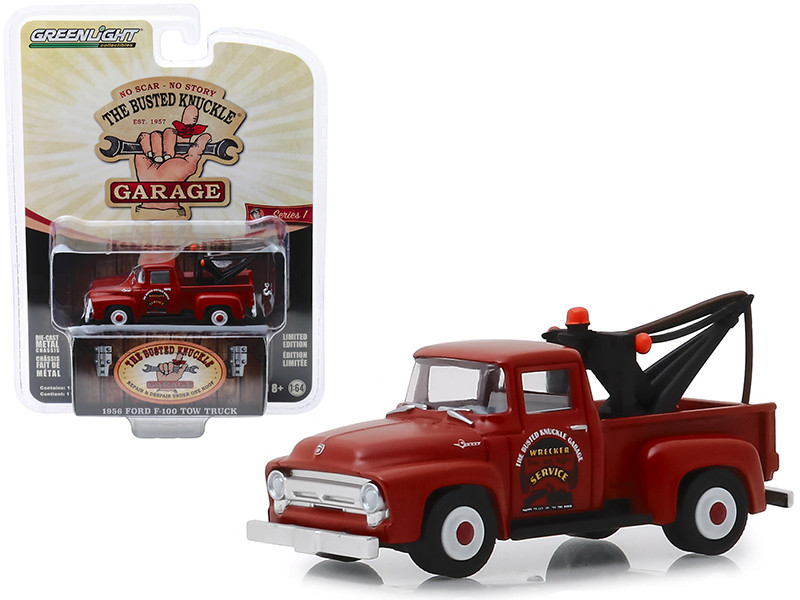 1956 Ford F-100 Tow Truck Red Wrecker Service Busted Knuckle Garage Series 1 1/64 Diecast Model Car Greenlight 39010 B