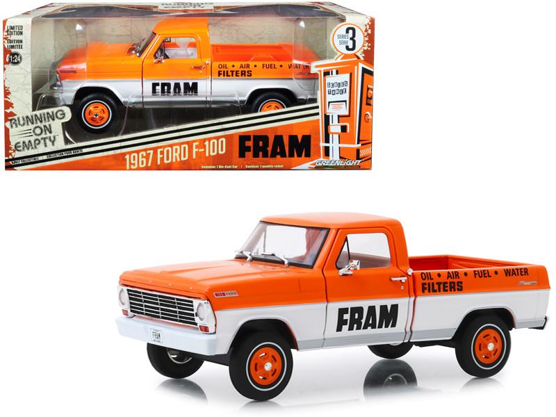 1967 Ford F-100 Pickup Truck Orange White FRAM Oil Filters Running on Empty Series 3 1/24 Diecast Model Car Greenlight 85042