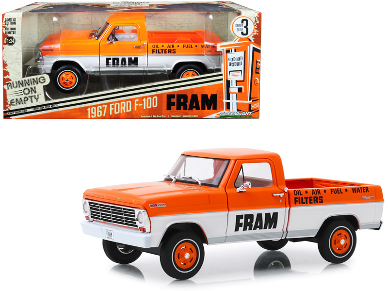 1967 Ford F-100 Pickup Truck Orange White FRAM Oil Filters Running on Empty Series 3 1/24 Diecast Model Car Greenlight 85042