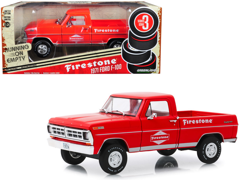 1971 Ford F-100 Pickup Truck Red Firestone Tire Service Running on Empty Series 3 1/24 Diecast Model Car Greenlight 85043