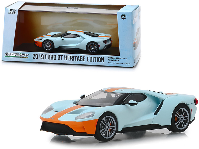 2019 Ford GT Heritage Edition Gulf Oil Color Scheme 1/43 Diecast Model Car Greenlight 86158