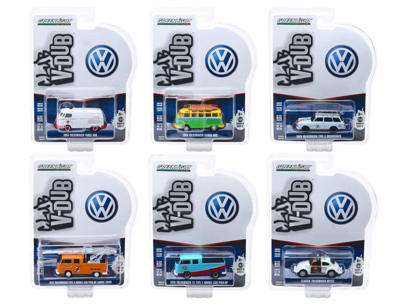Club Vee V-Dub Series 9 6 piece Set 1/64 Diecast Model Cars Greenlight 29960