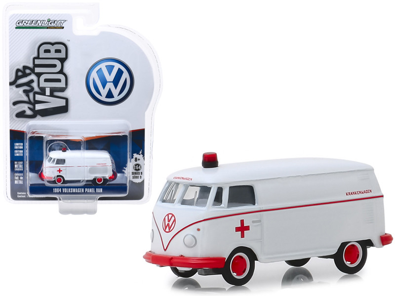 1964 Volkswagen Panel Van Ambulance White Club Vee V-Dub Series 9 1/64 Diecast Model Car Greenlight 29960 A