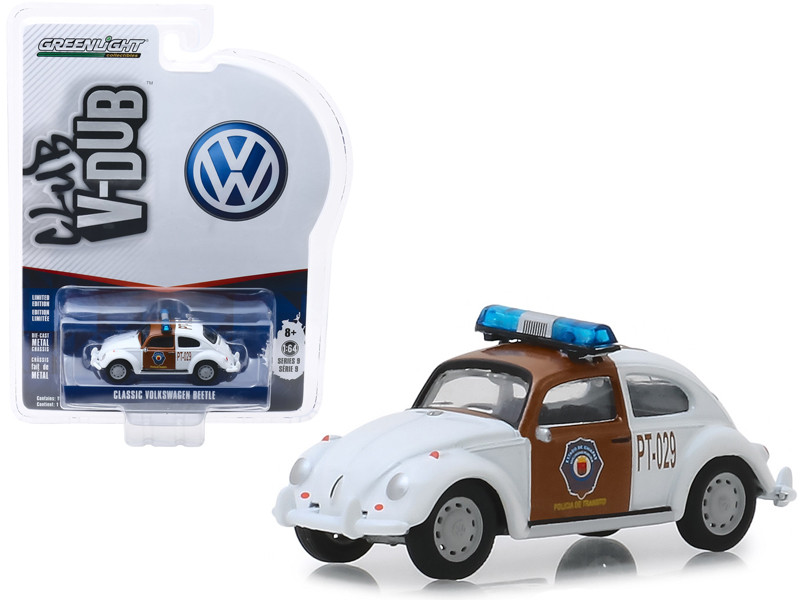 Classic Volkswagen Beetle Chiapas Mexico Traffic Police White Brown Club Vee V-Dub Series 9 1/64 Diecast Model Car Greenlight 29960 F