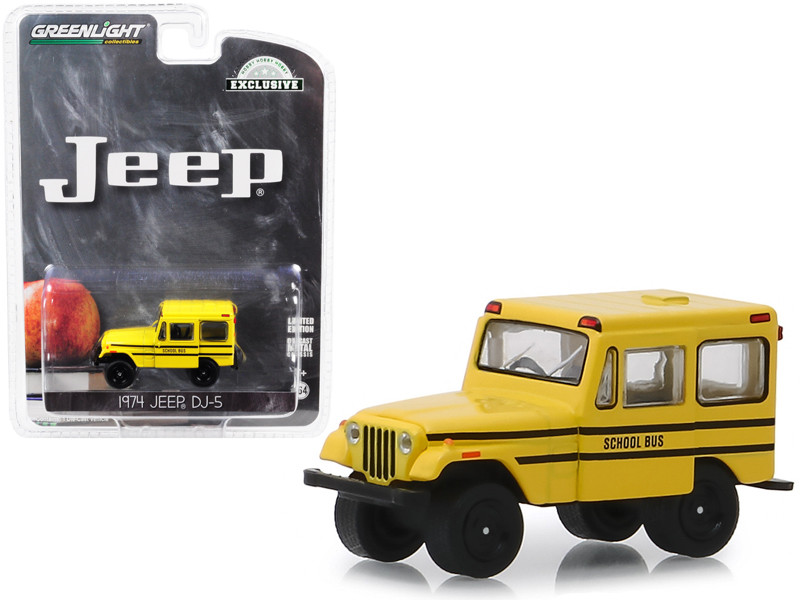 1974 Jeep DJ-5 School Bus Yellow Hobby Exclusive 1/64 Diecast Model Car Greenlight 30065