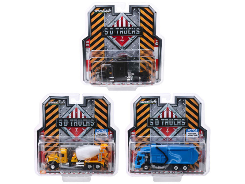 2019 Mack Trucks SD Trucks Series 7 Set 3 pieces 1/64 Diecast Models Greenlight 45070