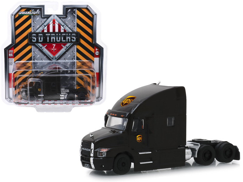 2019 Mack Anthem Highway Long Haul Truck Brown UPS United Parcel Service SD Trucks Series 7 1/64 Diecast Model Greenlight 45070 A