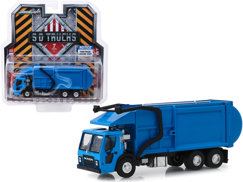 2019 Mack LR Refuse Recycle Garbage Truck Blue SD Trucks Series 7 1/64 Diecast Model Greenlight 45070 C