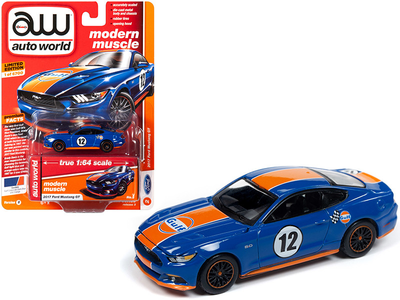 2017 Ford Mustang GT #12 Gulf Oil Dark Blue Orange Stripes Limited Edition 6700 pieces Worldwide 1/64 Diecast Model Car Autoworld 64202 CP7522