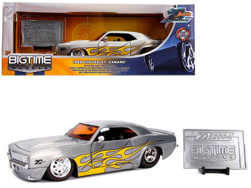 1969 Chevrolet Camaro Raw Metal Yellow Flames Bigtime Muscle Jada 20th Anniversary 1/24 Diecast Model Car Jada 31073