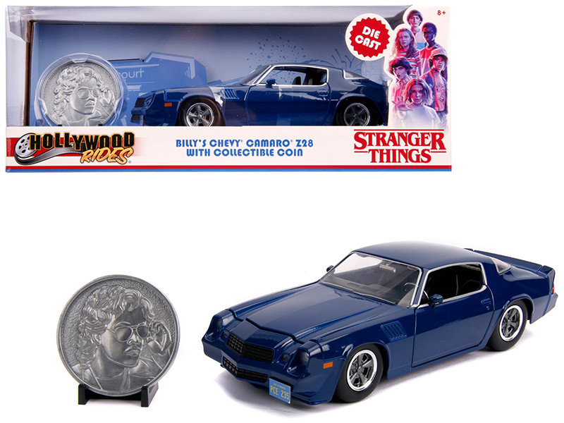 Billy's Chevrolet Camaro Z28 Dark Blue Collectible Coin Stranger Things 2016 TV Series 1/24 Diecast Model Car Jada 31110