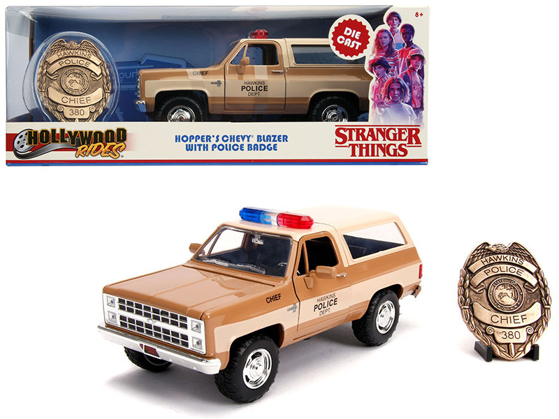 Hopper's Chevrolet Blazer Police Badge Hawkins Police Dept Stranger Things 2016 TV Series 1/24 Diecast Model Car Jada 31111