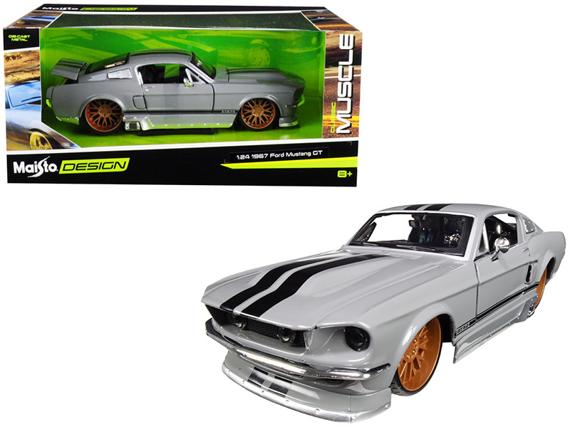 1967 Ford Mustang GT 5.0 Gray Black Stripes Classic Muscle 1/24 Diecast Model Car Maisto 31094