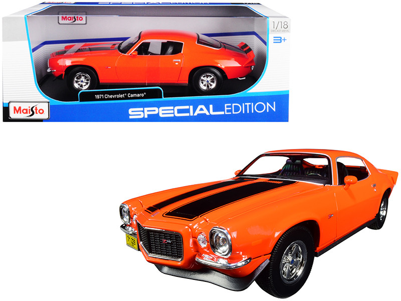 1971 Chevrolet Camaro Orange Black Stripes 1/18 Diecast Model Car Maisto 31131