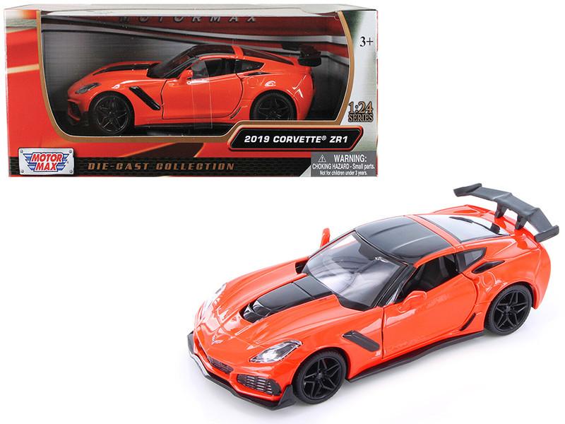 2019 Chevrolet Corvette ZR1 Orange Black Accents 1/24 Diecast Model Car Motormax 79356