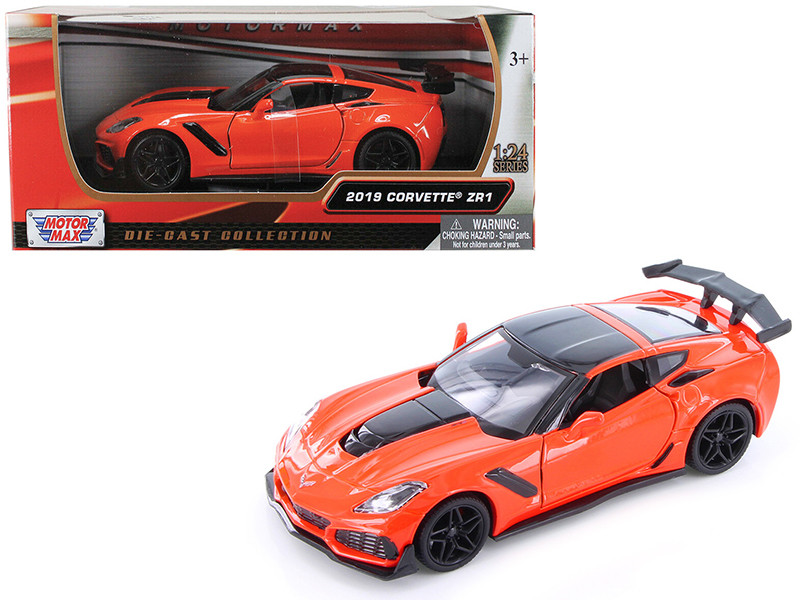 2019 Chevrolet Corvette ZR1 Orange Black Accents 1/24 Diecast Model Car Motormax 79356