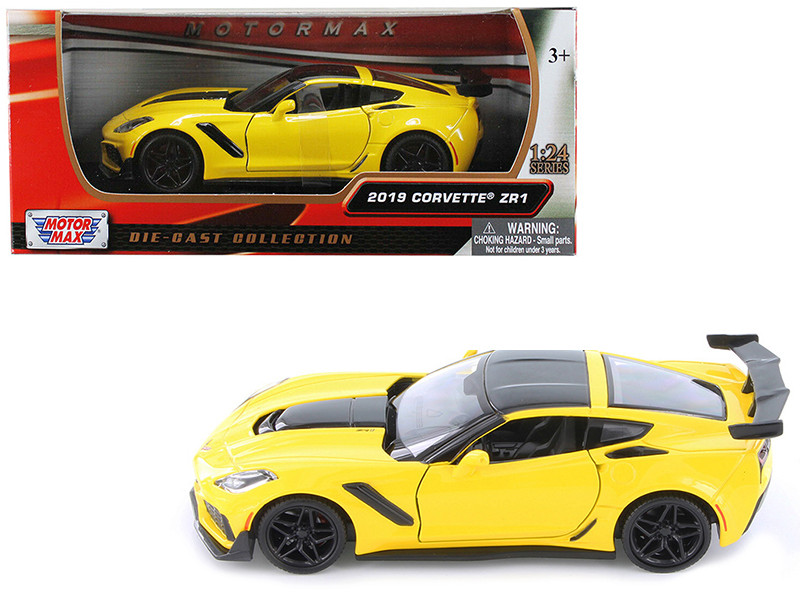 2019 Chevrolet Corvette ZR1 Yellow Black Accents 1/24 Diecast Model Car Motormax 79356