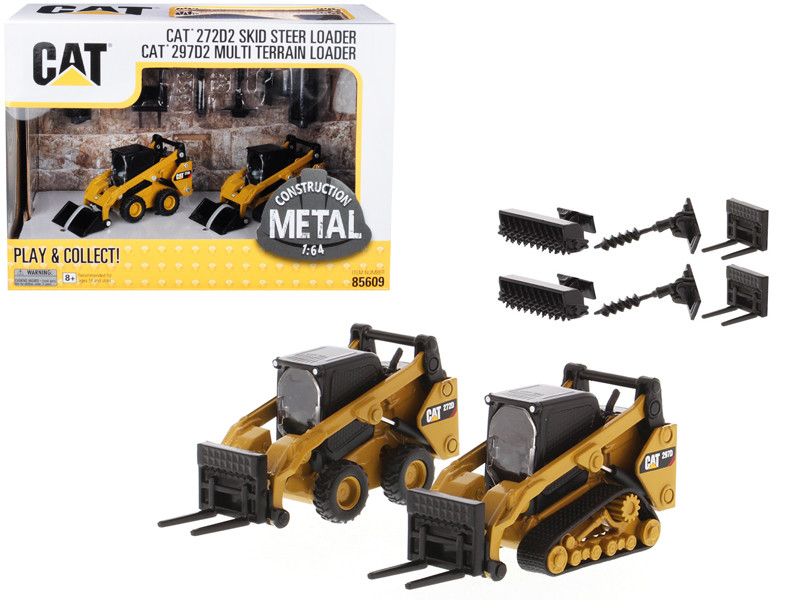 Set of 2 pieces CAT Caterpillar 272D2 Skid Steer Loader and CAT Caterpillar 297D2 Multi Terrain Track Loader with Accessories 1/64 Diecast Models Diecast Masters 85609
